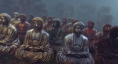 Buddha Statues in Field Cinema 4D Redshift SP by botshow