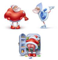 Three Happy Santas by centau