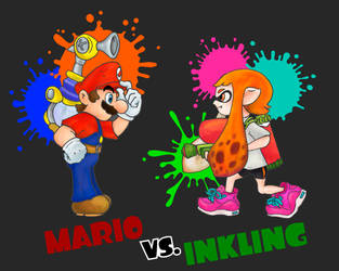 Mario vs. Inkling by MPaolillo