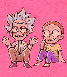 Some cutesy rick and morty garbage by pixelthefox