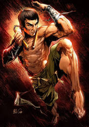 Bruce Lee Pin Up Color by CandiceHan