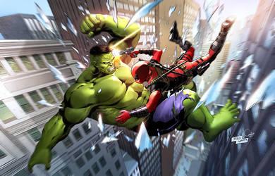 Hulk VS Deadpool Pin Up by CandiceHan