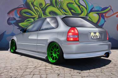 Civic green wheels. by RikaDesigner