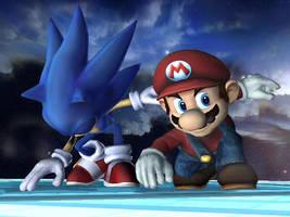 Mario and Sonic by nintenerd