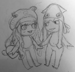 Octopus and squid by whereislaurita