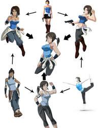 Hexafusion: Korra, Jill, Wiifit Trainer by bocodamondo