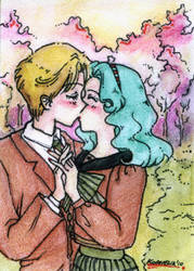 Kiss in the park - ACEO no02 by unconventionalsenshi