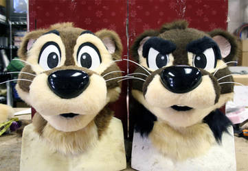 Two Finished Otter Heads by Frazzy626