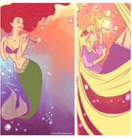 Ariel and Rapunzel by viria13