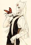 Shinji and butterfly by beniyorunii