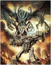Cthulhu -vs- Battle Golem by NathanRosario