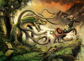 Hellas: Battle with a hydra by NathanRosario