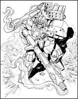 Mecha Warrior- Inked version by NathanRosario