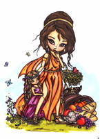 Demeter and young Persephone by JadeDragonne