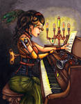 The mechanical pianist by JadeDragonne