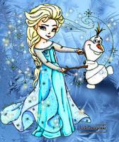 Elsa and Olaf - Colored by JadeDragonne