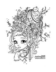 Spring maid - Lineart (updated) by JadeDragonne