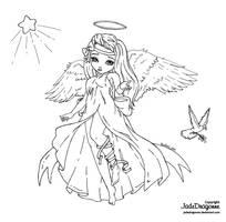 Angel of Peace - Lineart by JadeDragonne