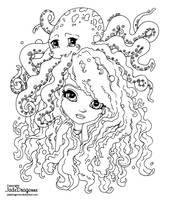 Octopus - Lineart by JadeDragonne
