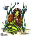 Steampunk frog fairy- Colored by JadeDragonne