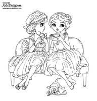 Tea and Gossips - Lineart by JadeDragonne