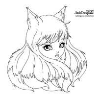 Foxy - Lineart by JadeDragonne