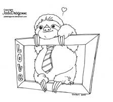 Sloth Of Love - Lineart by JadeDragonne