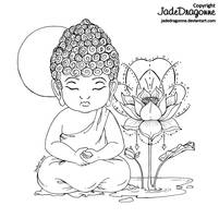Little Buddha - Lineart by JadeDragonne