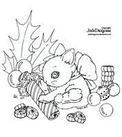 Xmas Bunny - Lineart by JadeDragonne