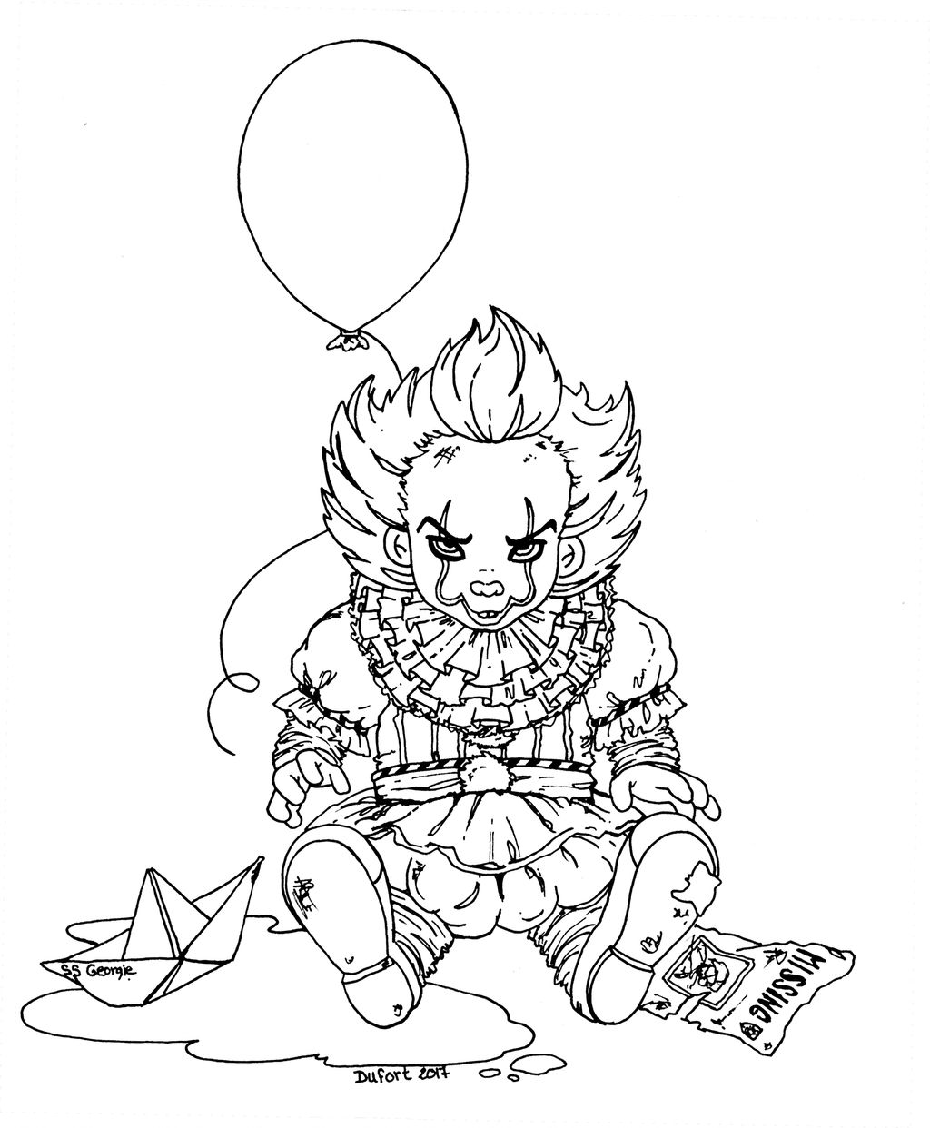 Baby Pennywise Lineart by JadeDragonne on DeviantArt