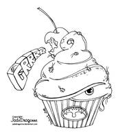 Monster cupcake - Lineart by JadeDragonne