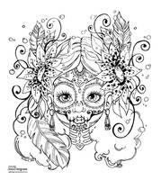 Dias de los muertos - Lineart by JadeDragonne