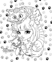 Alice and the Cheschire cat by JadeDragonne