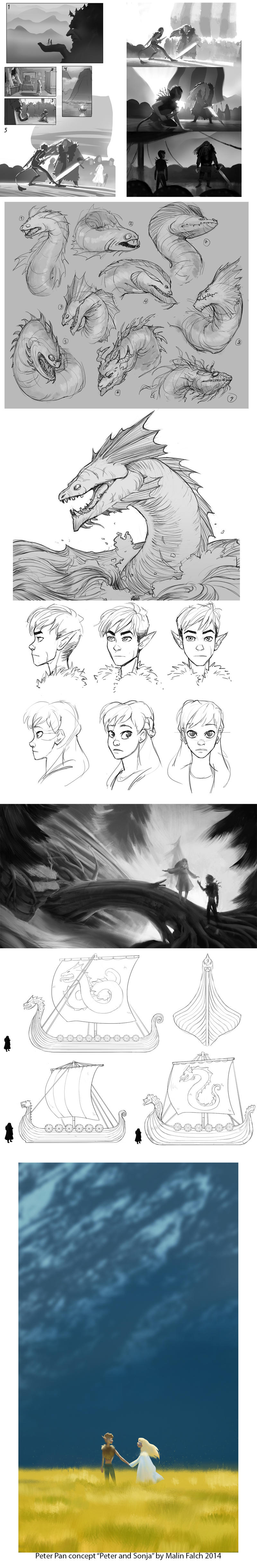 Peter Pan concept sketches by Detkef