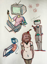 Object Heads Doodle by RanebowStitches