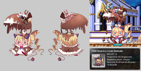 [Maplestory] Pink bean ice cream umbrella Chair by SakuraHikariz