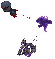 Ghost-Steel Fakemon Evo Chain by FluffyKnight
