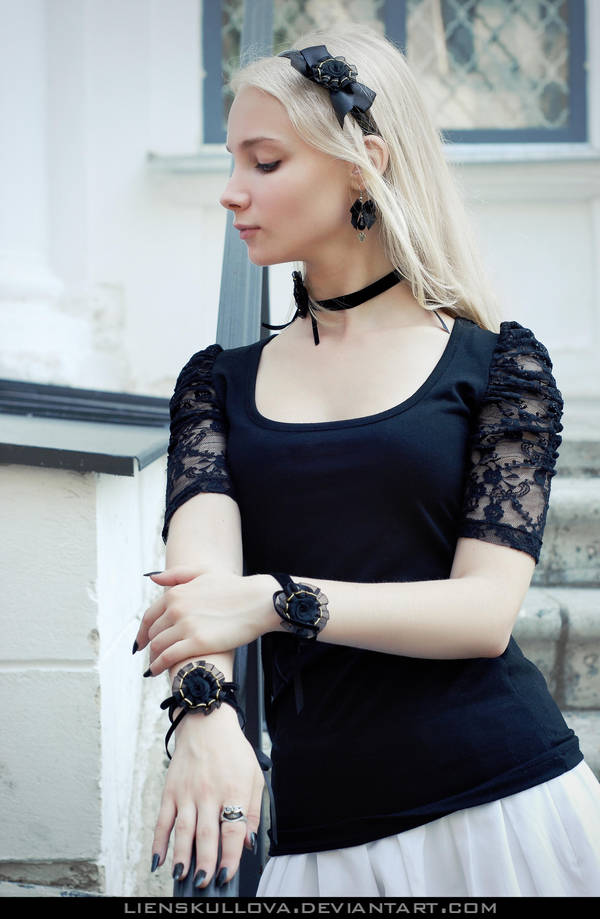 STOCK - Blonde in Black 05 by LienSkullova