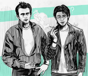 Smoking together with James Byron Dean. by loooos