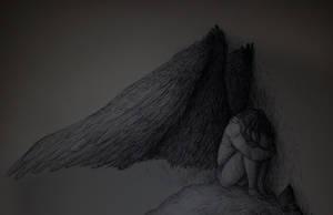 INKTOBER DAY 1 - Fallen Angel by Queen-Of-Unlight