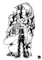 Commission - Elric Brothers lineart by ElectroCereal