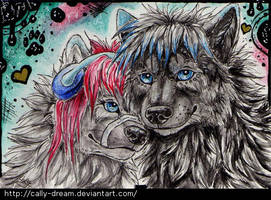 Double ACEO: Tami and Akio by Cally-Dream