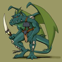 Winged Lizardman warrior by drakered
