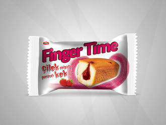 Finger Time Cake with Strawberry Package Design by ziyade