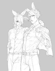 (OC)rabbit couple doodle by Kair030