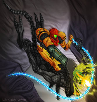 Commission: Samus vs. Xenomorph by Cryophase