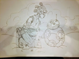 Rey and BB8 Study inspired by 'Sorry I Forgot' by Barudos