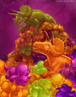 Gummy candy triceratops by Static-ghost
