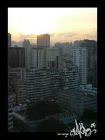 Sunset over Mong Kok by Asenceana