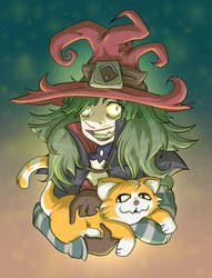 Witch with a Cat by mogstomp
